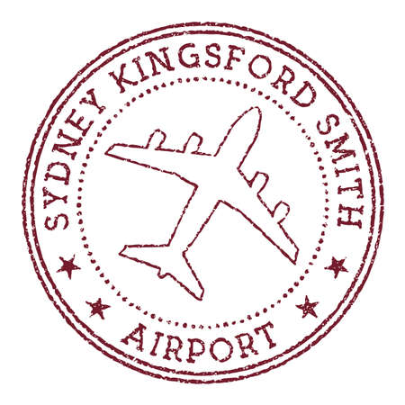 Sydney Kingsford Smith Airport stamp. Airport of Sydney round logo. Vector illustration.