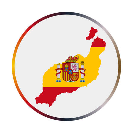 Lanzarote icon. Shape of the island with Lanzarote flag. Round sign with flag colors gradient ring. Captivating vector illustration.
