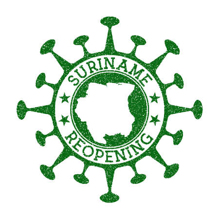 Suriname Reopening Stamp. Green round badge of country with map of Suriname. Country opening after lockdown. Vector illustration.