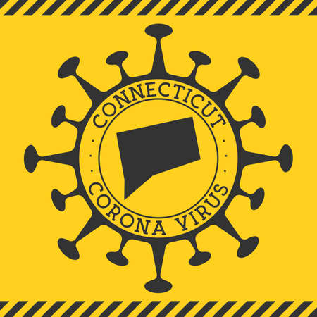 Corona virus in Connecticut sign. Round badge with shape of virus and Connecticut map. Yellow us state epidemy lock down stamp. Vector illustration. Ilustración de vector
