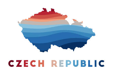 Czech Republic map. Map of the country with beautiful geometric waves in red blue colors. Vivid Czech Republic shape. Vector illustration. 向量圖像