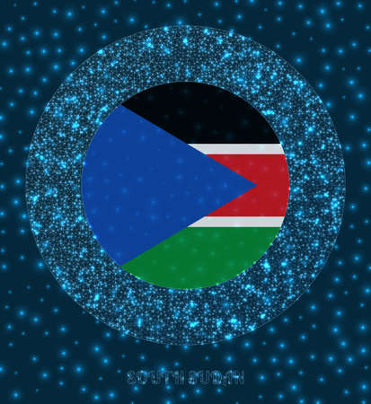 Round South Sudan badge. Flag of South Sudan in glowing network mesh style. Country network logo. Vibrant vector illustration.