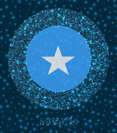 Round Somalia badge. Flag of Somalia in glowing network mesh style. Country network logo. Superb vector illustration.