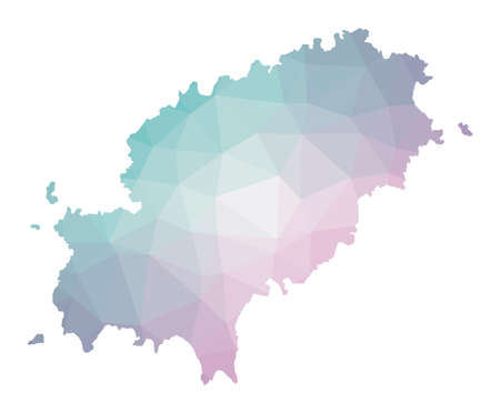 Polygonal map of Ibiza. Geometric illustration of the island in emerald amethyst colors. Ibiza map in low poly style. Technology, internet, network concept. Vector illustration.
