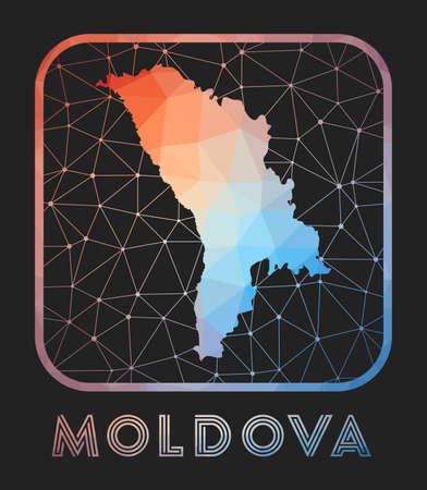 Moldova map design. Vector low poly map of the country. Moldova icon in geometric style. The country shape with polygnal gradient and mesh on dark background.