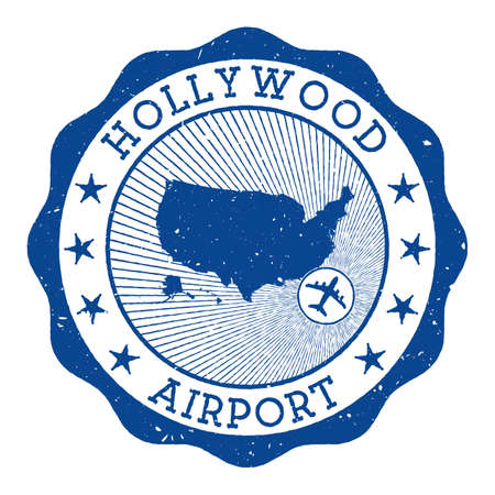 Hollywood Airport stamp. Airport of Fort Lauderdale round logo with location on United States map marked by airplane. Vector illustration.