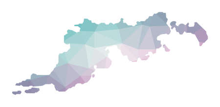 Polygonal map of Tortola. Geometric illustration of the island in emerald amethyst colors. Tortola map in low poly style. Technology, internet, network concept. Vector illustration. Illusztráció