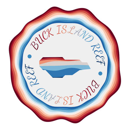 Buck Island Reef badge. Map of the island with beautiful geometric waves and vibrant red blue frame. Vivid round Buck Island Reef logo. Vector illustration. Illusztráció