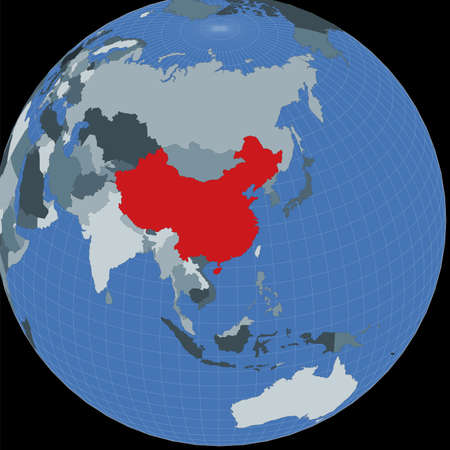 Shape of the China in context of neighbour countries. Country highlighted with red color on world map. China map template. Vector illustration.