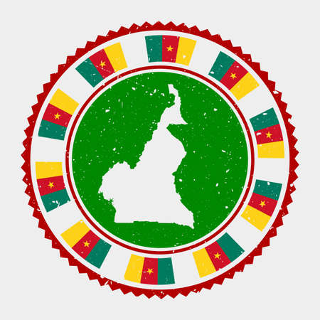 Cameroon grunge stamp. Round logo with map and flag of Cameroon. Country stamp. Vector illustration.