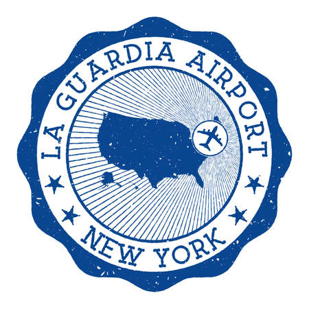 La Guardia Airport New York stamp. Airport of New York round logo with location on United States map marked by airplane. Vector illustration.