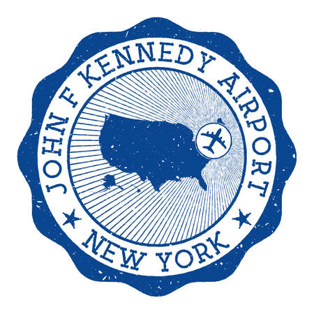 John F Kennedy Airport New York stamp. Airport of New York round logo with location on United States map marked by airplane. Vector illustration. 矢量图像