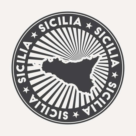 Sicilia round logo. Vintage travel badge with the circular name and map of island, vector illustration. Can be used as insignia, logotype, label, sticker or badge of the Sicilia.