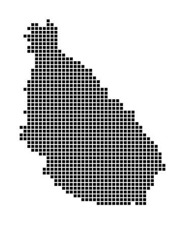 Santiago Island map. Map of Santiago Island in dotted style. Borders of the island filled with rectangles for your design. Vector illustration.