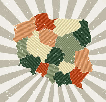 Poland vintage map. Grunge poster with map of the country in retro color palette. Shape of Poland with sunburst rays background. Vector illustration. Vektoros illusztráció