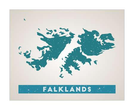 Falklands map. Country poster with regions. Old grunge texture. Shape of Falklands with country name. Neat vector illustration. 向量圖像