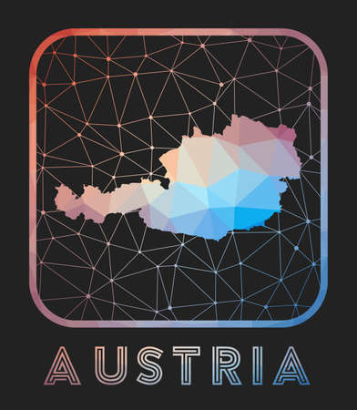 Austria map design. Vector low poly map of the country. Austria icon in geometric style. The country shape with polygnal gradient and mesh on dark background.