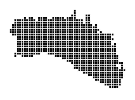 Minorca map. Map of Minorca in dotted style. Borders of the island filled with rectangles for your design. Vector illustration.