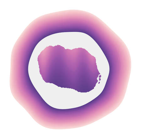 Rarotonga icon. Colorful gradient logo of the island. Purple red Rarotonga rounded sign with map for your design. Vector illustration. Illusztráció