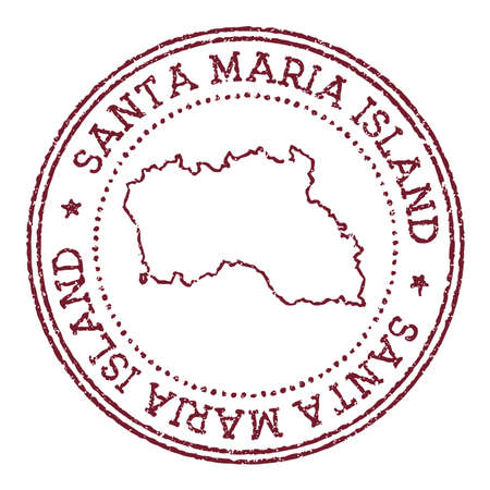 Santa Maria Island round rubber stamp with island map. Vintage red passport stamp with circular text and stars, vector illustration. Çizim