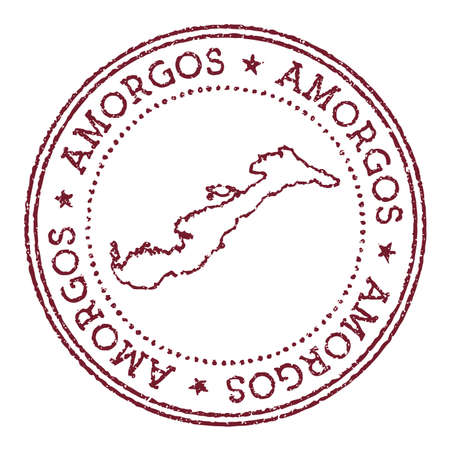 Amorgos round rubber stamp with island map. Vintage red passport stamp with circular text and stars, vector illustration. Çizim