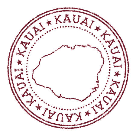 Kauai round rubber stamp with island map. Vintage red passport stamp with circular text and stars, vector illustration. Çizim