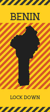 Benin Lock Down Sign. Yellow country pandemic danger icon. Vector illustration.