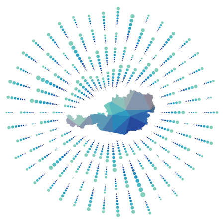 Shape of Austria, polygonal sunburst. Map of the country with colorful star rays. Austria illustration in digital, technology, internet, network style. Vector illustration. Ilustração