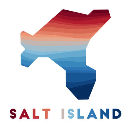 Salt Island map. Map of the island with beautiful geometric waves in red blue colors. Vivid Salt shape. Vector illustration.