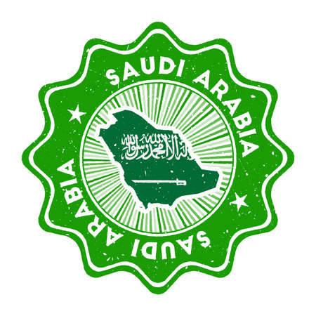 Saudi Arabia round grunge stamp with country map and country flag. Vintage badge with circular text and stars, vector illustration. Çizim