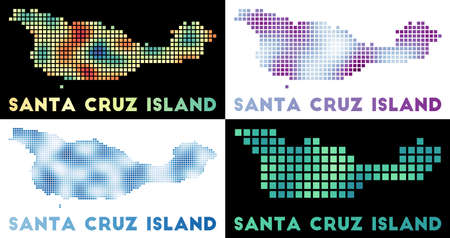 Santa Cruz Island map. Collection of map of Santa Cruz Island in dotted style. Borders of the island filled with rectangles for your design. Vector illustration.