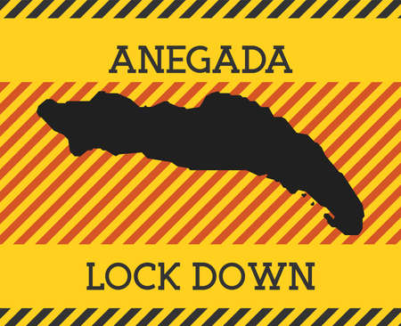 Anegada Lock Down Sign. Yellow island pandemic danger icon. Vector illustration.