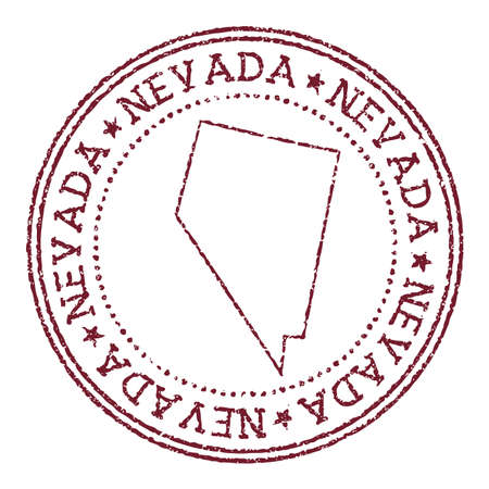 Nevada round rubber stamp with us state map. Vintage red passport stamp with circular text and stars, vector illustration. Çizim