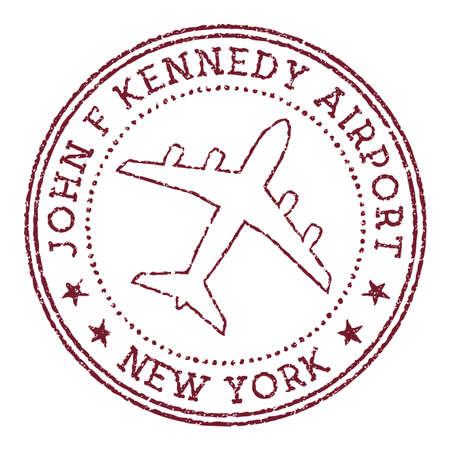 John F Kennedy Airport New York stamp. Airport of New York round logo. Vector illustration.