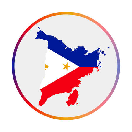 Panay icon. Shape of the island with Panay flag. Round sign with flag colors gradient ring. Superb vector illustration.