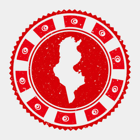 Tunisia grunge stamp. Round logo with map and flag of Tunisia. Country stamp. Vector illustration. Illusztráció