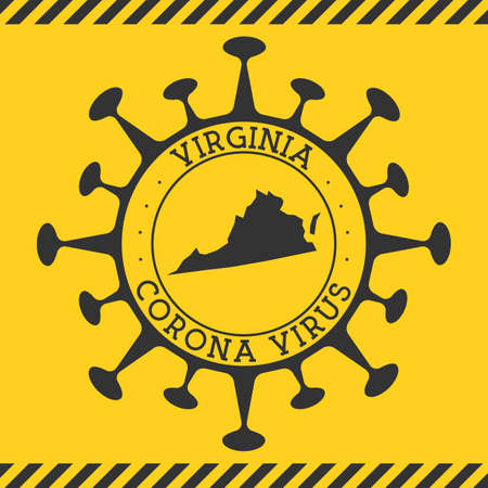 Corona virus in Virginia sign. Round badge with shape of virus and Virginia map. Yellow us state epidemy lock down stamp. Vector illustration.