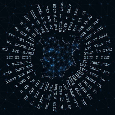 Ko Samui digital map. Binary rays radiating around glowing island. Internet connections and data exchange design. Vector illutration. Illusztráció