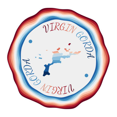 Virgin Gorda badge. Map of the island with beautiful geometric waves and vibrant red blue frame. Vivid round Virgin Gorda logo. Vector illustration.
