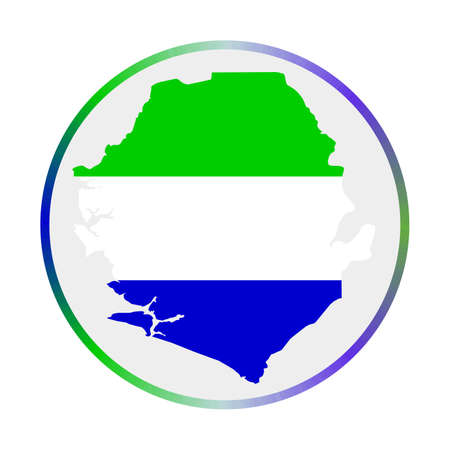 Sierra Leone icon. Shape of the country with Sierra Leone flag. Round sign with flag colors gradient ring. Awesome vector illustration.
