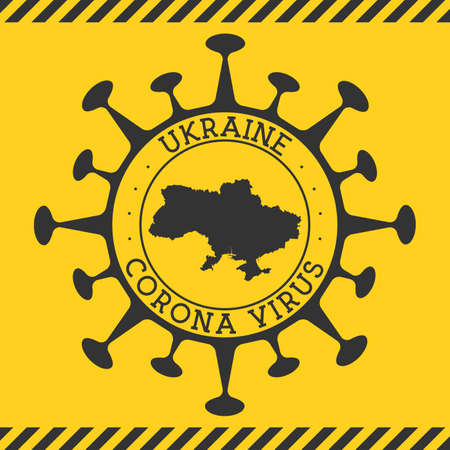 Corona virus in Ukraine sign. Round badge with shape of virus and Ukraine map. Yellow country epidemy lock down stamp. Vector illustration.