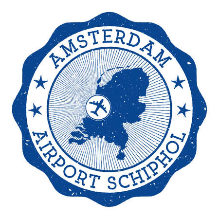 Amsterdam Airport Schiphol stamp. Airport of Amsterdam round logo with location on Netherlands map marked by airplane. Vector illustration.