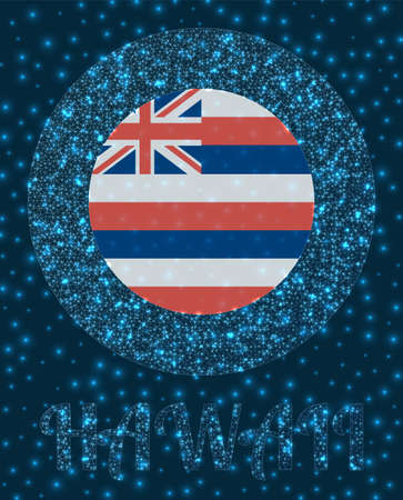 Round Hawaii badge. Flag of Hawaii in glowing network mesh style. Us state network logo. Awesome vector illustration.