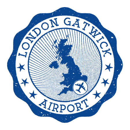 London Gatwick Airport stamp. Airport of London round logo with location on United Kingdom map marked by airplane. Vector illustration.