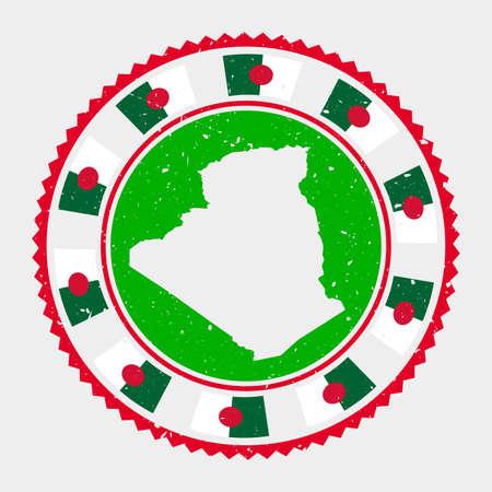 Algeria grunge stamp. Round logo with map and flag of Algeria. Country stamp. Vector illustration. Illusztráció