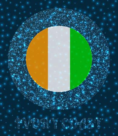 Round Ivory Coast badge. Flag of Ivory Coast in glowing network mesh style. Country network logo. Trendy vector illustration. Illusztráció