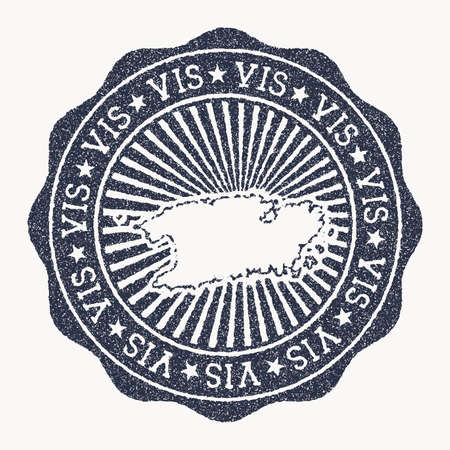 Vis stamp. Travel rubber stamp with the name and map of island, vector illustration. Can be used as insignia, logotype, label, sticker or badge of the Vis.