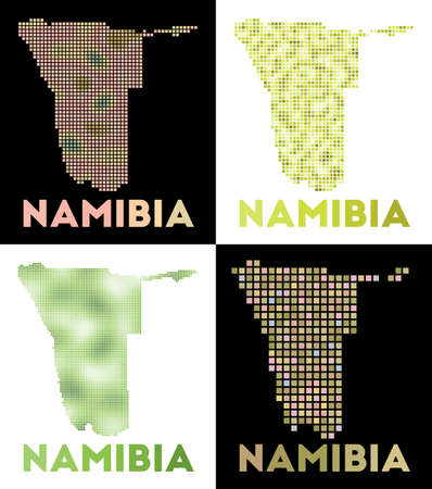 Namibia map. Collection of map of Namibia in dotted style. Borders of the country filled with rectangles for your design. Vector illustration.