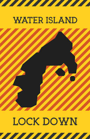 Water Island Lock Down Sign. Yellow island pandemic danger icon. Vector illustration.