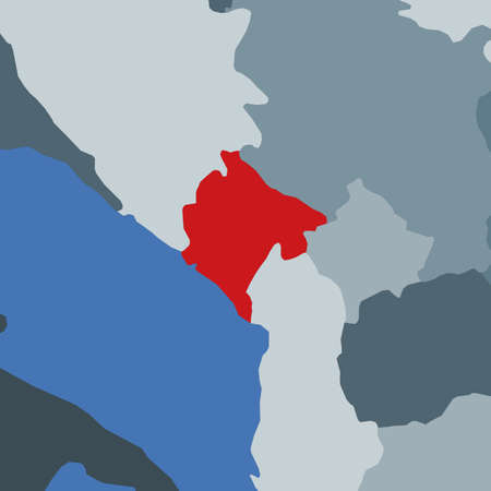 Shape of the Montenegro in context of neighbour countries. Country highlighted with red color on world map. Montenegro map template. Vector illustration. Illusztráció